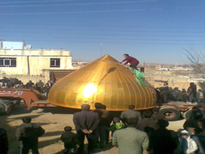 مراحل نصب گنبد مسجد شوراب کبیر